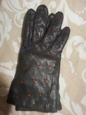 DENTS  BLACK LADIES  LEATHER GLOVES SIZE S -WINTER LINED