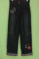 229 Deux par Deux France girl black jeans denim embroidered floral EUC 8