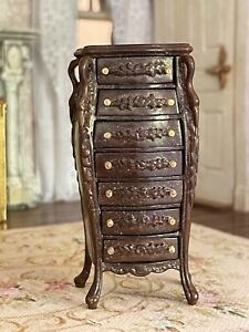 Vintage Miniature Dollhouse Artisan Tall Chest 7 Drawers Shaped Swan Heads Wood