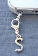 Alphabet Letter S cell phone Charm Anti Dust proof Plug ear cap cover jack C43
