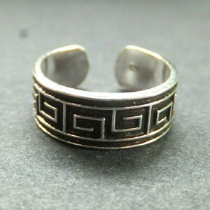 SOLID SILVER TOE RING, greek square design *BN* good quality, sturdy toe ring