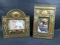 2 Brass Picture Frame With Palm Trees Elephants Sun by Fetco New 3.5 x 2.5