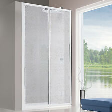 Porta doccia 115cm scorrevole box per nicchia pannello acrilico alluminio bianco