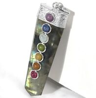 Natural Labradorite 7 Chakra Crystal Pendant Handmade Necklace CHARGED Gemstone