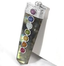 Labradorite 7 Chakra Crystal Point Pendant Necklace CHARGED Gemstone Transform