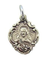Sterling Silver Jesus Christ His Most Sacred Heart Baroque Style Scapular Medal