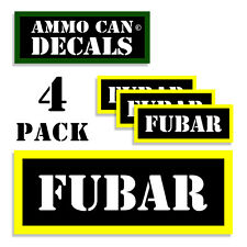 """FUBAR Ammo Can Labels Ammunition Case 3""""x1.15"""" stickers decals 4 pack BLYW"""
