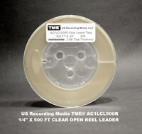 """Open Reel Audio Leader Tape CLEAR 1/4"""" X 500' 2 Mil on 5"""" Reel by TME NEW!"""