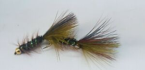 3QTY DOUBLE MINT OLIVE - TUNGSTEN BEAD Fly  Fishing Flies Size 10 ,12 & 14