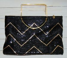 Jotta 1980's Mesh Evening Bag Black Gold Chevron Chain Strap Jayco USA