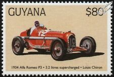 1934 ALFA ROMEO P3 (Louis Chiron) F1 GP Racing Car Stamp (1998 Guyana)