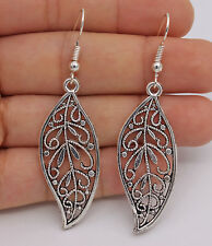 "925 Silver Plated Hook - 2.5"" Chic Hollow Leaf  Women Retro Silver Earrings #61"