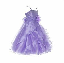44038d6e8bbd Wedding Organza Pleated Ruffled Flower Girl Dress Communion Party Pageant  Dress
