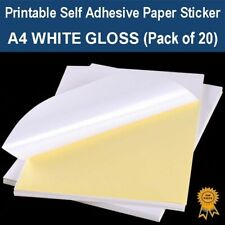 A4 Self Adhesive Paper Sticker Label Sheet Laser Inkjet Print - Gloss (PK 20)