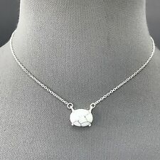 Silver Finish Dainty Chain Oval White Black Natural Stone Pendant Necklace