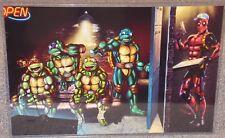 TMNT vs Deadpool Pizza Delivery Glossy Art Print 11 x 17 In Hard Plastic Sleeve