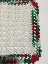 White And Christmas Crocheted Miniature Dollhouse Blanket Afghan Throw