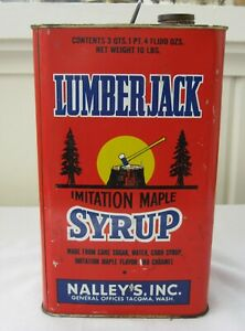 Vintage Lumberjack Maple Syrup  Can  Nalley's Inc Advertising Primitive Kitchen