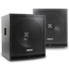 "Pair Active Subwoofers Club Sub Woofers Bass Bins|Vonyx SWP-15"" 1600W UK Stock"
