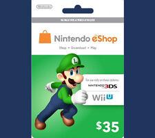 US / USA $35 Nintendo 3DS Wii U Prepaid Points Card eShop - WORLDWIDE SHIPPING!!