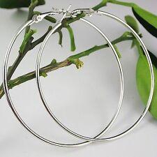 70mm Dia Large Sterling Silver Plated Women Fashion Jewelry Hoop Dangle Earrings