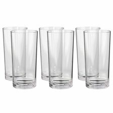 Plastic Tumbler Set Drinking Glass Water Cups Crystal Clear Kitchen 24 Oz 6-Pack