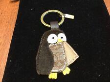 NEW Coach Brown Multi-Color SiG. C Fur Leather OWL Keychain/keyring/Keyfob/Charm