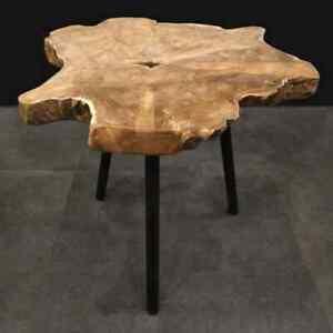 Ambiance Teak Root Wood End Table Wooden Side Desk Magazine Rack Furniture
