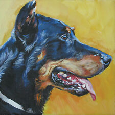 Beauceron dog portrait art canvas Print of Lashepard painting Lshep 12x12""