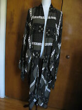 Free People Women's Black Combo Rayon Twilight Long Front Cardigan XS/S NWT