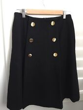By Malene Birger Black Button Detailed Pleated Wool Skirt