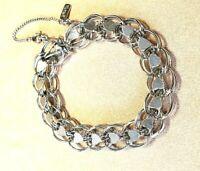 Monet Vintage Silver Tone Heart/VALENTINE Double Chain Link Charm Bracelet 70's