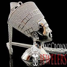 Mens 14K White Gold Silver Big XL Egyptian Queen Nefertiti Lab Diamond Pendant