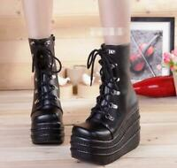Punk Womens Round Toe Lace Up High Heel Platform Wedge Ankle Boots Gothic Shoes