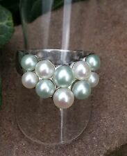Ring mit vielen echten weiß und blau Perlen Silber 925 Silberring Gr. 17 mm