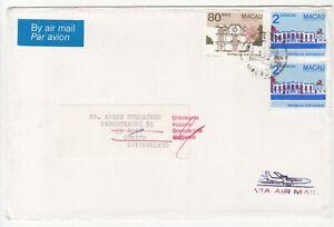Macau: Returned Unknown Cover: Macau to Zurich, Ipswich, 30 March-16 April 1988