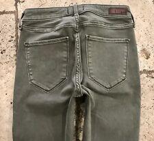 Abercrombie & Fitch Harper Super Skinny Destroyed Olive Green Denim Jeans 00