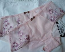 2 PR Luxe Fantasie 2936 Melissa Ultra Sheer Short Brief Knickers Soft Pink  S