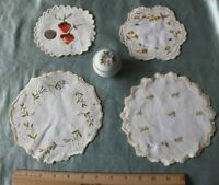 Lot of 4 Antique Silk Society Work Hand Embroidered Florals On Linen Doilies