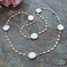 Rhinestone Pave White Coin freshwater Pearl Crystal Chain Necklace