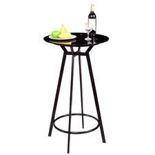 NEW Modern Round Bar Table Glass Top Metal Frame Bar Bistro Pub Furniture Black