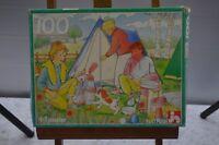 ANCIEN PUZZLE VIVE LE CAMPING 100 PIECES POUR ENFANT EDUCATIF COMPLET