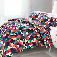 Soft Easy Care Multi-colour Diamond Geometric Quilt Duvet Cover Bedding Set