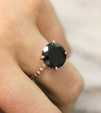 4Ct Round Cut Black Diamond Solitaire Engagement Ring 14K Rose Gold Finish