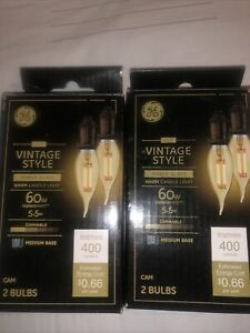GE - Vintage Style 60W 400-Lumen, 5.5W Dimmable Amber Glass Light Bulbs Lot Of 2