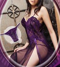 Plus Size Women Lingerie Nightwear Sleepwear Lace Dress Long Robes G-String NEW