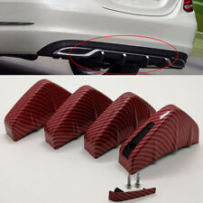 4x Car SUV Rear Bumper Shark Fin Lip Add-on Scratch Guard Red Carbon Fiber Style