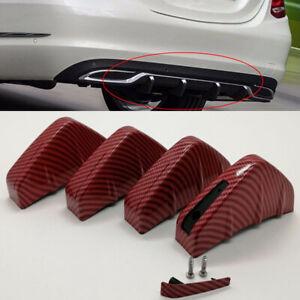 4x Car SUV Rear Bumper Shark Fin Lip Add-on Scratch Guard Red Carbon Fiber Style