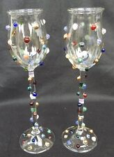 James Minson Art Glass Champagne / Wine Bubble Blister Glasses w/ Colorful Dots