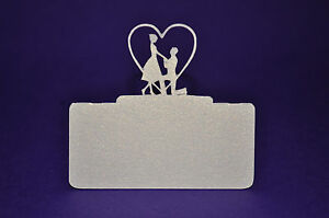 Bride & Groom (Modern) PLACE CARDS hand made die cut choice of 6 colours